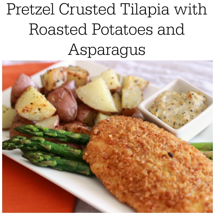 Pretzel Crusted Tilapia with Roasted Potatoes and Asparagus