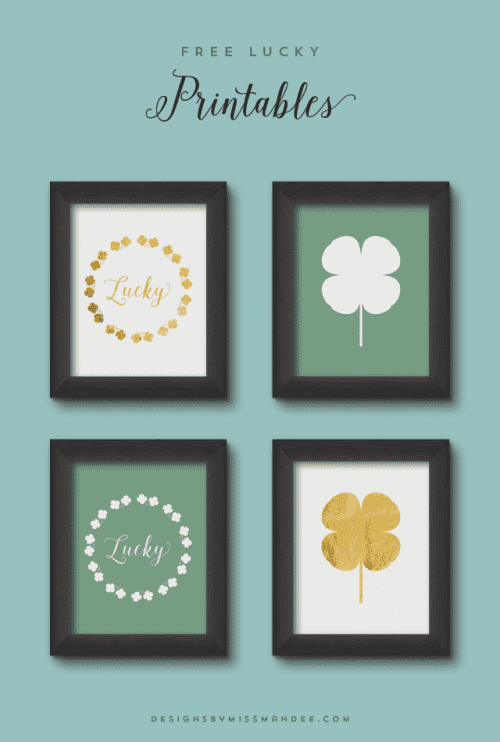 4 free lucky printables displayed in frames for st. patrick's day