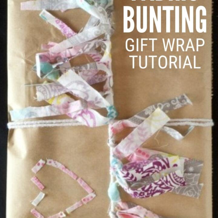 fabric bunting gift wrap tutorial 1