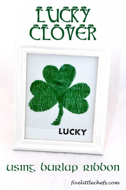 a lucky clover craft in a white frame
