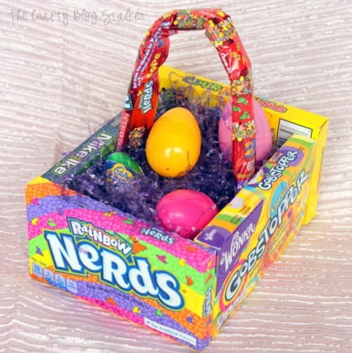 Twelve Fun Easter Crafts featured by top US craft blog, The Crafty Blog Stalker: Candy Easter Basket