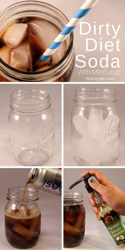 a collage of step by step images to make a dirty diet soda with soda flavor shots