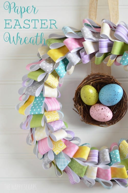 scrap pattern paper easter wreath with speckled eggs in the center