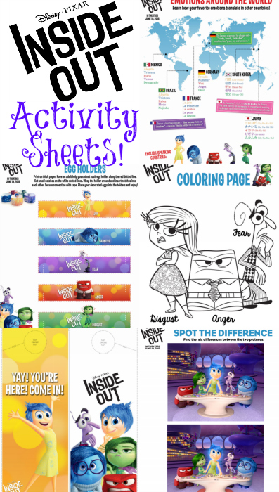 Fun Activity Sheets For Disney Pixar's INSIDE OUT