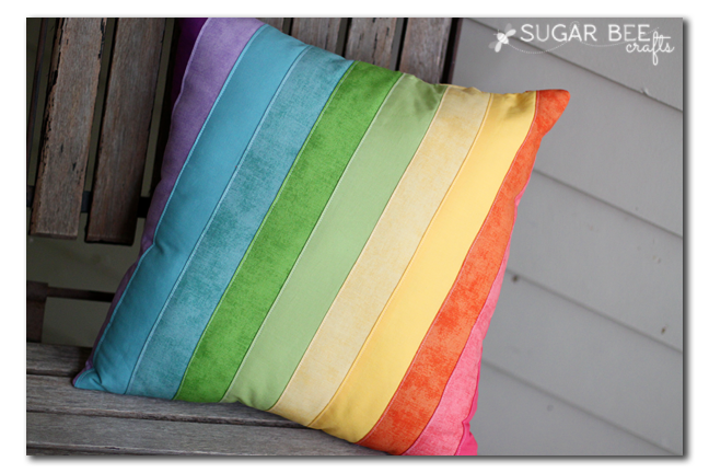 Quilted Rainbow Pillow - Sugar Bee Crafts
