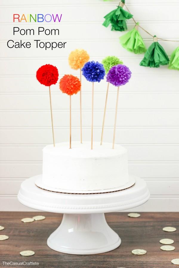 Rainbow Pom Pom Cake Topper - The Casual Craftlete
