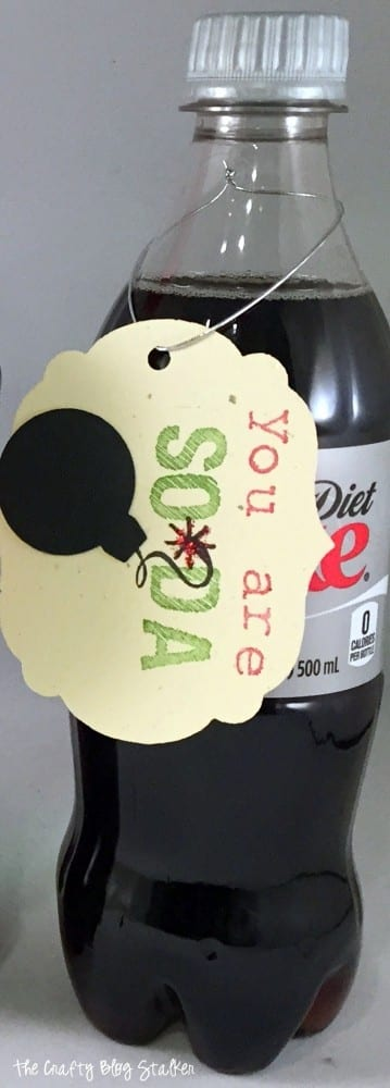 close up of You Are So-Da Bomb gift tag hanging from a plastic bottle of Diet Coke