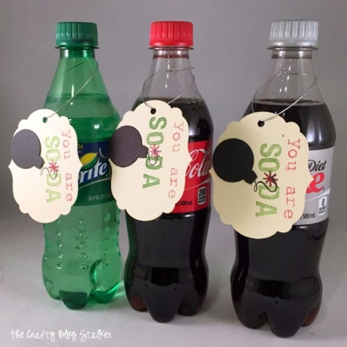 Three plastic bottles of soda with homemade gift tags hanging from them for simple gift ideas