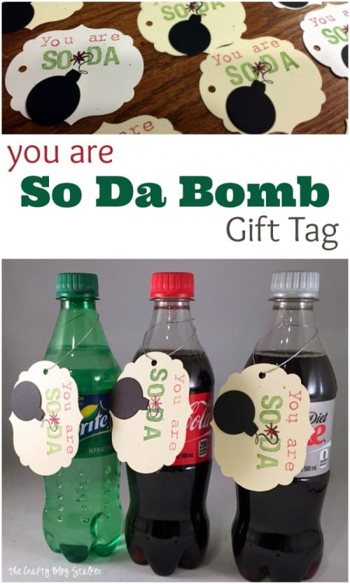 header image with an image of homemade gift tags and another image of the gift tags hanging on a plastic soda bottle