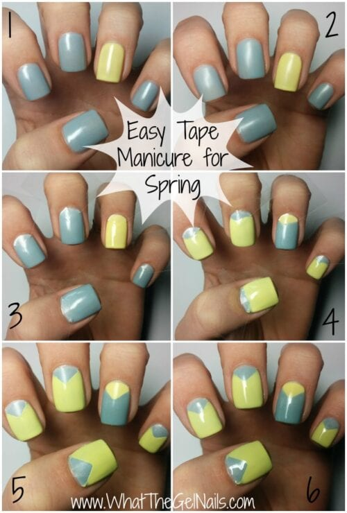 a collage showing the steps of creating a tape manicure