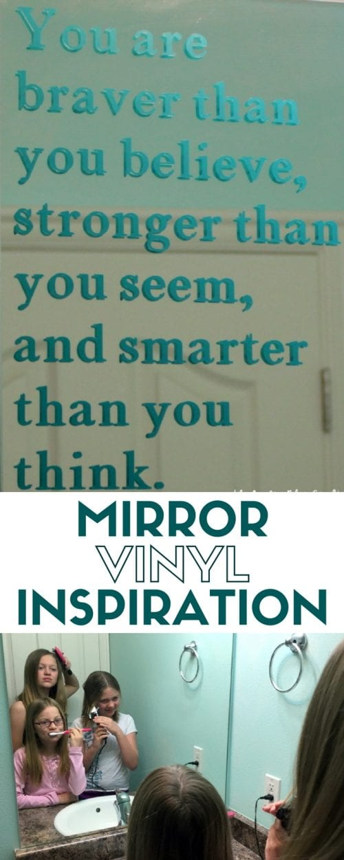 header image How to Make a Vinyl Mirror Decal Quote with Cricut Explore with three girls brushing their teeth in front of a bathroom mirror