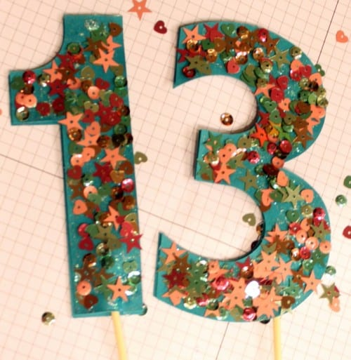 Sequins Numbered Cake Topper | DIY Party Decor | Birthday Party | Birthday Cake | Handmade Decorations