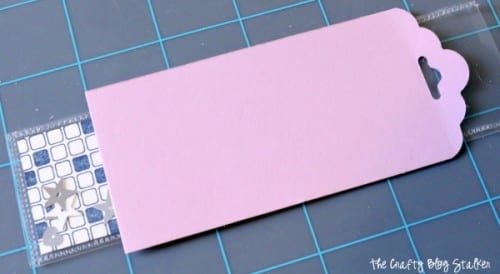 a paper template with a tag shape