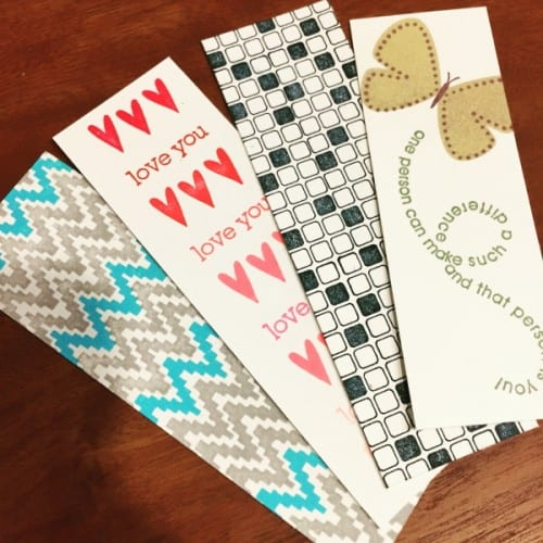 stamped strips of cardstock to make bookmarks