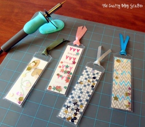 4 different shaker bookmarks made with the Fuse Tool