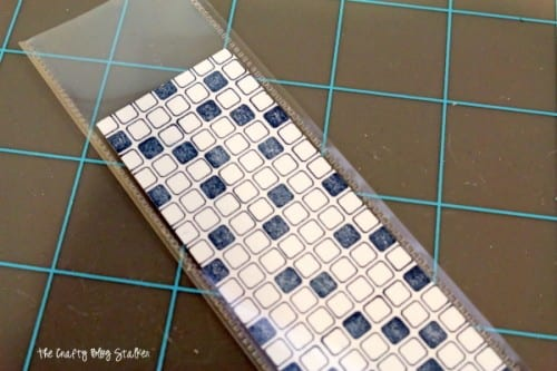 cardstock strip fused into a sheet protector