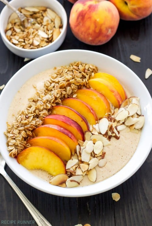 The Best 7 Fresh Peach Recipes, a tutorial featured by top US craft blog, The Crafty Blog Stalker: Peach Pie Smoothie Bowl