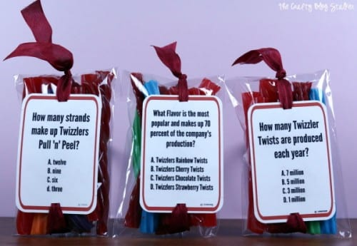 Make these fun Road Trip Quiz Treat Packs with a free printable and Twizzlers. A great snack for the car that will keep the whole family entertained. #TwizzlersSummer #ad #CollectiveBias