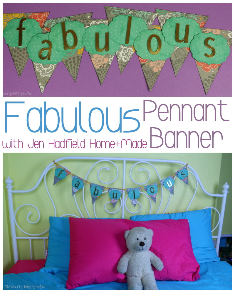 Create a fun and fabulous pennant banner using Jen Hadfield Home + Made papers and accessories. Paper crafts make great home decor!