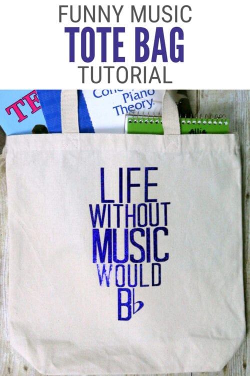 title image for How to Make a Funny Music Tote Bag with Heat Transfer Vinyl