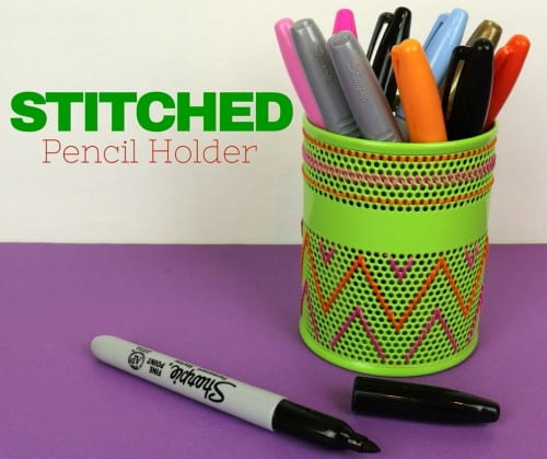 Learn how to make a personalized stitched Pencil Holder for your desk. A simple DIY craft tutorial idea to get you back to school.