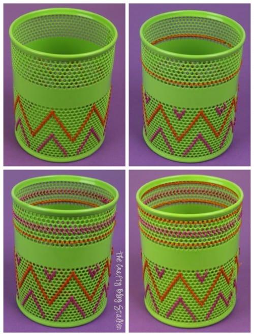 Stitched Pencil Holder | Office Supplies | DIY Crafts | DMC Floss | Tutorial | #DIY #DMC #crafts