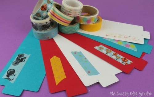 card blanks with a strip of washi tape on them