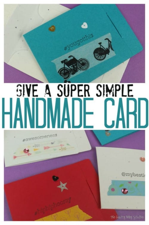 Make and GIVE a super simple Handmade Card using washi tape and supplies you probably already have on hand! A simple DIY craft tutorial idea.