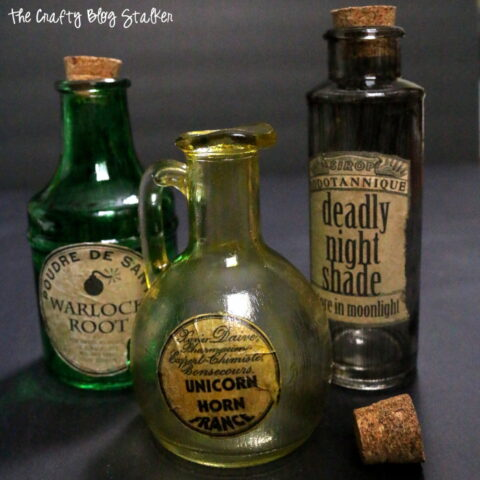 How to Make Potion Bottles for Halloween   Easy DIY Craft Tutorial Idea   Creepy Decor   Labels   Glass   free printable