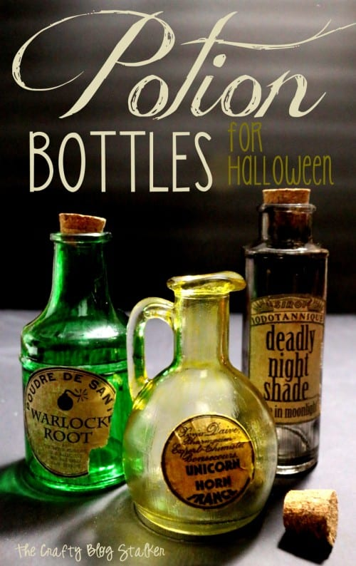 Make your own set of creepy potion bottles. A simple DIY craft tutorial idea for Halloween decor and parties. Free Potion Labels Printable included.