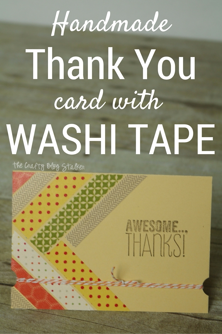 A handmade thank you card will brighten your friends day. This card is simple to make, all you need is some washi tape, baker's twine and stamped greeting. A simple DIY craft tutorial idea.