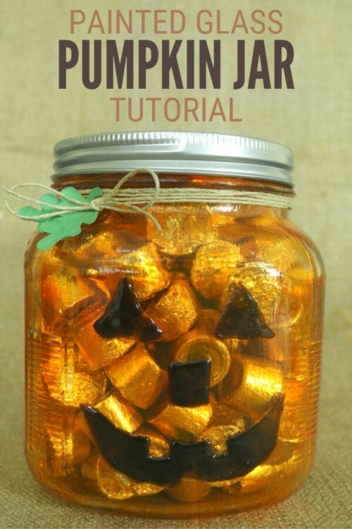 title image for How to Make a Painted Glass Pumpkin Jar