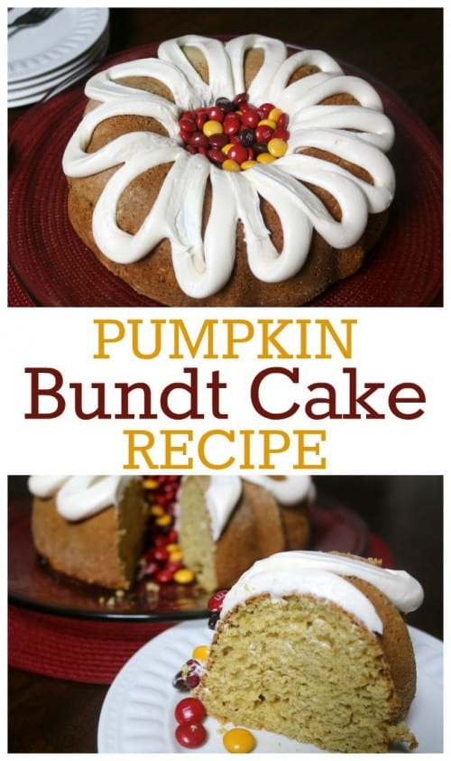 Serve this Pumpkin Bundt Cake at your fall parties. Topped with Milk Chocolate Harvest M&M's®. Your friends will be asking you for the recipe! #CollectiveBias #ad  #BakeInTheFun