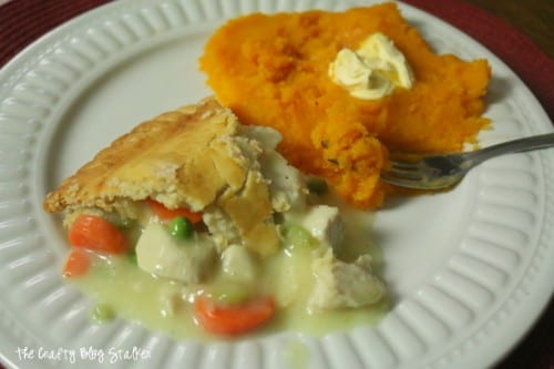 a slice of pot pie and steamed butternut squash as the side