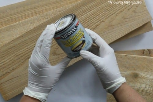 How to Make a Wood Planter Box Centerpiece, a tutorial featured by top US craft blog, The Crafty Blog Stalker: stain