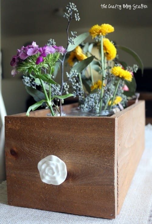 How to Make a Wood Planter Box Centerpiece, a tutorial featured by top US craft blog, The Crafty Blog Stalker: planter box with flowers