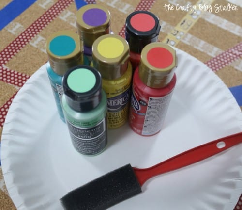image of the acrylic paints chosen to pain a cork board