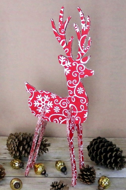 assembled 3d reindeer decoration for the holidays