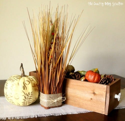 How to Make a Fall Grass Floral Arrangement tutorial featured by top US craft blog, The Crafty Blog Stalker.