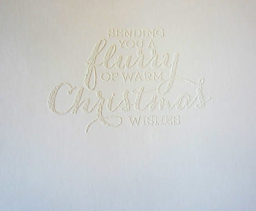 embossed card sentiment