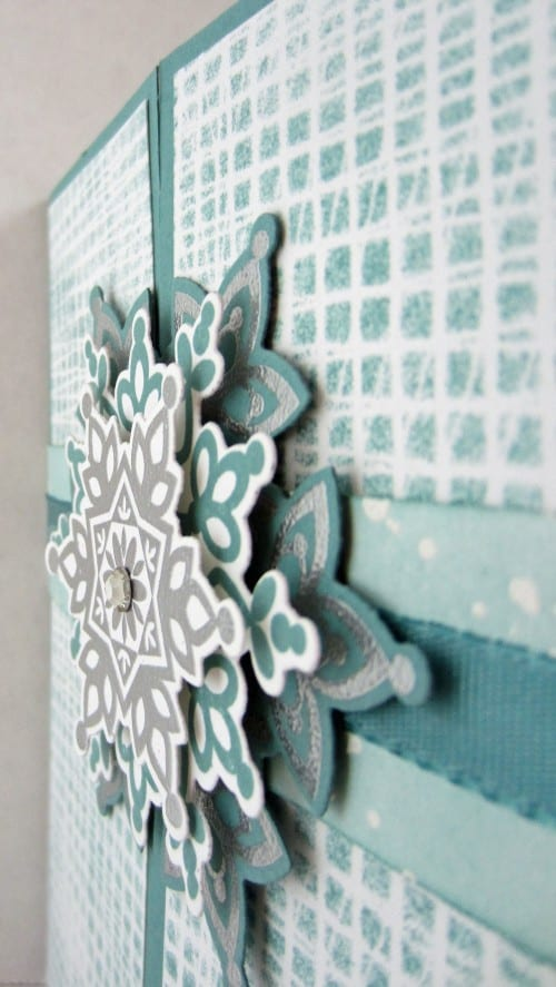 side view of the snowflake card