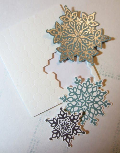 using foam dots on stamped snowflakes