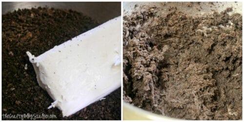 adding cream cheese to crushed Oreos