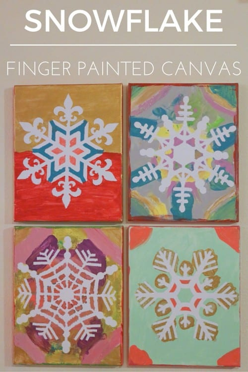 Snowflake Finger Painted Canvas