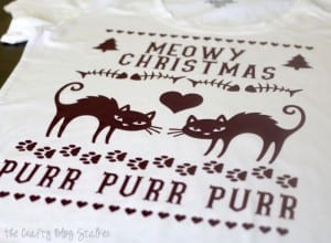Use the Cricut and Iron-on Vinyl to create an Ugly Christmas Sweater Shirt. An easy DIY craft tutorial idea for cat lovers and cat haters. Meowy Christmas!