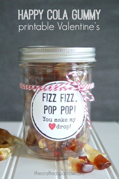 25+ Valentine Printables to be given with Candy featured by top US craft blog, The Crafty Blog Stalker: Happy Cola Gummy Printable Valentines