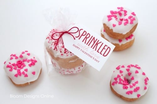 25+ Valentine Printables to be given with Candy featured by top US craft blog, The Crafty Blog Stalker: Sprinkled Donuts for Valentines