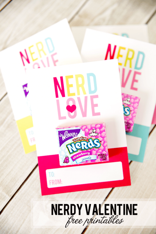 25+ Valentine Printables to be given with Candy featured by top US craft blog, The Crafty Blog Stalker: Nerdy Valentine Free Printable