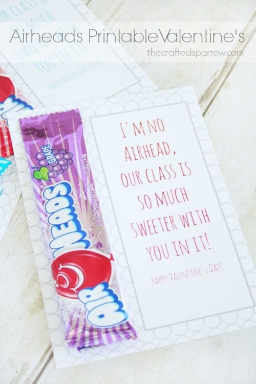 25+ Valentine Printables to be given with Candy featured by top US craft blog, The Crafty Blog Stalker: Airheads printable Valentine