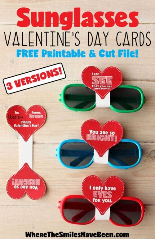 Sunglasses Valentines Day Card Free Printable Cut File